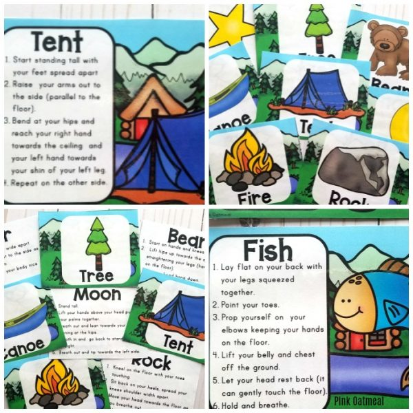 Camping themed yoga cards and printables are great for adding movement to the classroom.  Fun poses to get kids thinking about summer!  Can be used indoors or outdoors.  Great for preschool, kindergarten and up!