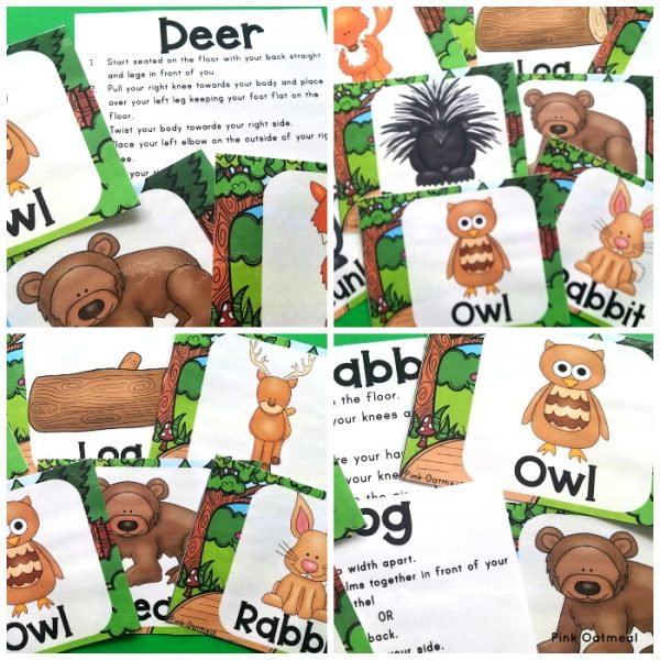 Fun Woodland Themed Yoga Cards and Printables are a great way to add movement to the classroom. Kids will love these fun animal poses including rabbit, fox and owl. Perfect for preschool, kindergarten and up.