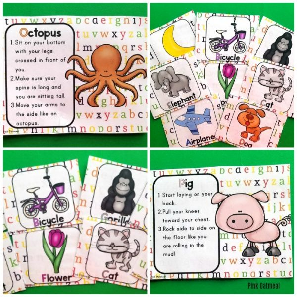 Alphabet yoga cards and printables are the perfect addition to your lesson plans. Great brain breaks for preschoolers to move and learn.