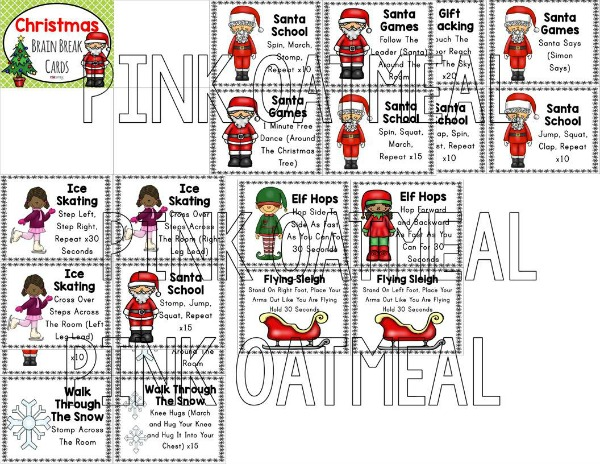 Christmas Brain Break Cards | Pink Oatmeal SHOP
