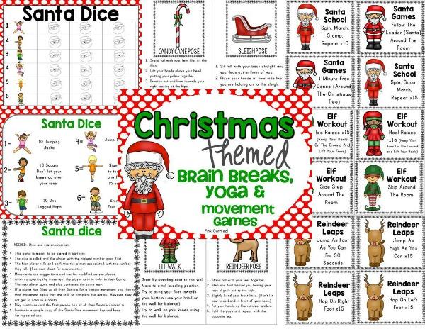 Christmas Brain Breaks, Yoga, and Movement Games | Pink Oatmeal SHOP