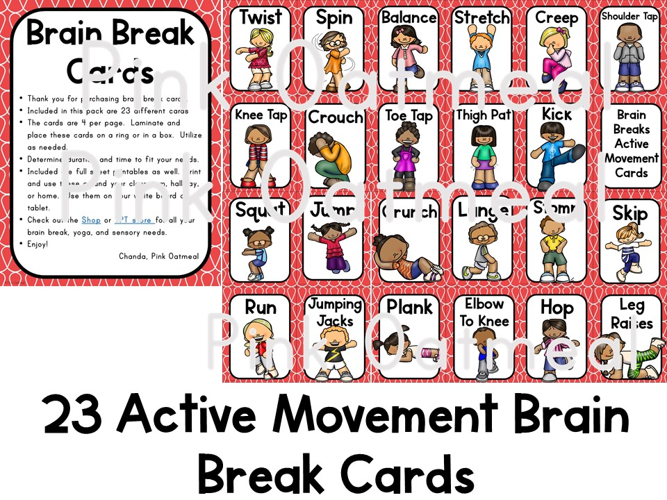 picture regarding Break Cards for Students Printable called Intellect Breaks - Stream Playing cards and Printables