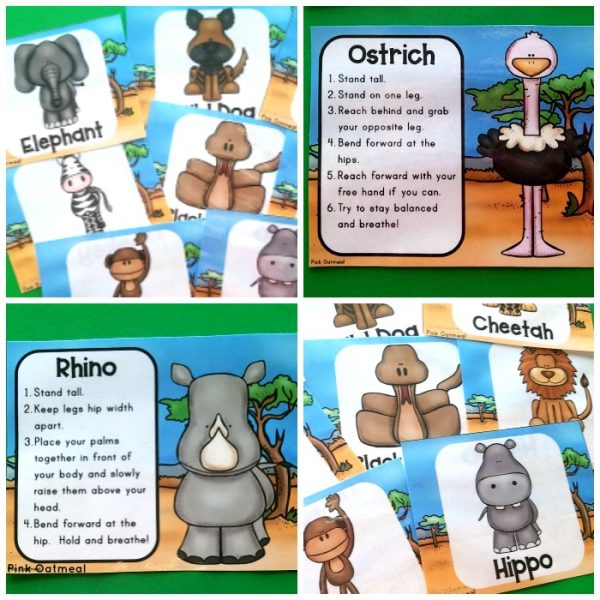 Check out these fun African Animal Yoga Cards and Printables to add movement to the classroom. These activities are are a great addition to your lesson plans! Kids will love the fun poses such as rhino, hippo and elephant. Perfect for preschool, kindergarten and up!