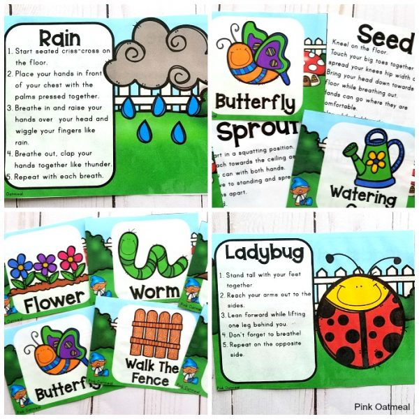 Kids will love these garden yoga cards and printables! These poses are great for incorporating movement into the classroom. Perfect for preschool, kindergarten and up! These will get everyone thinking spring!
