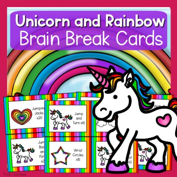 Unicorn and Rainbow Brain Break Cards