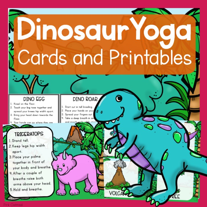 photo about Yoga Cards Printable known as Dinosaur Topic Yoga