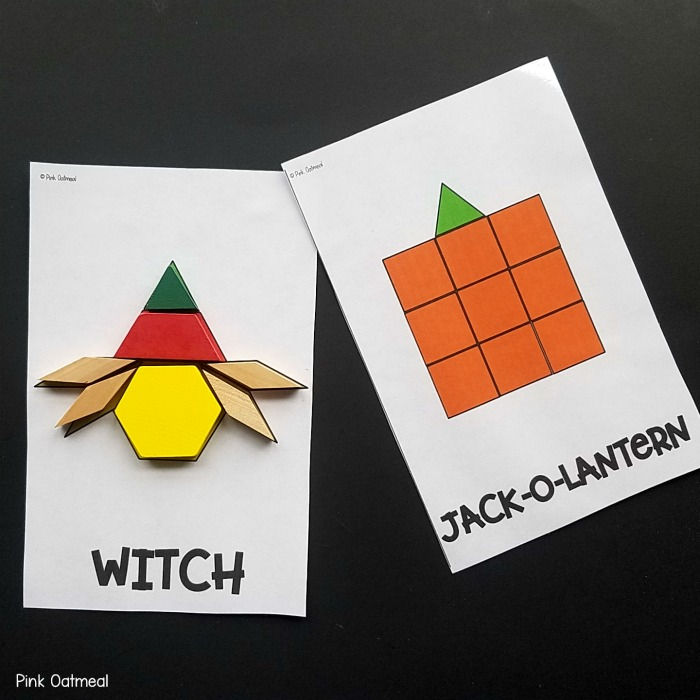 Halloween fine motor activity - pattern blocks