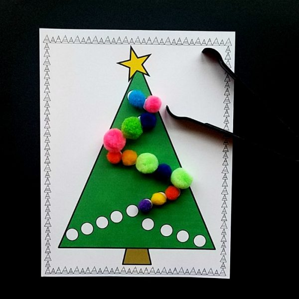 Christmas Fine Motor Activities Pom Transfer