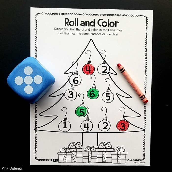 Christmas Fine Motor Activities Roll and Color