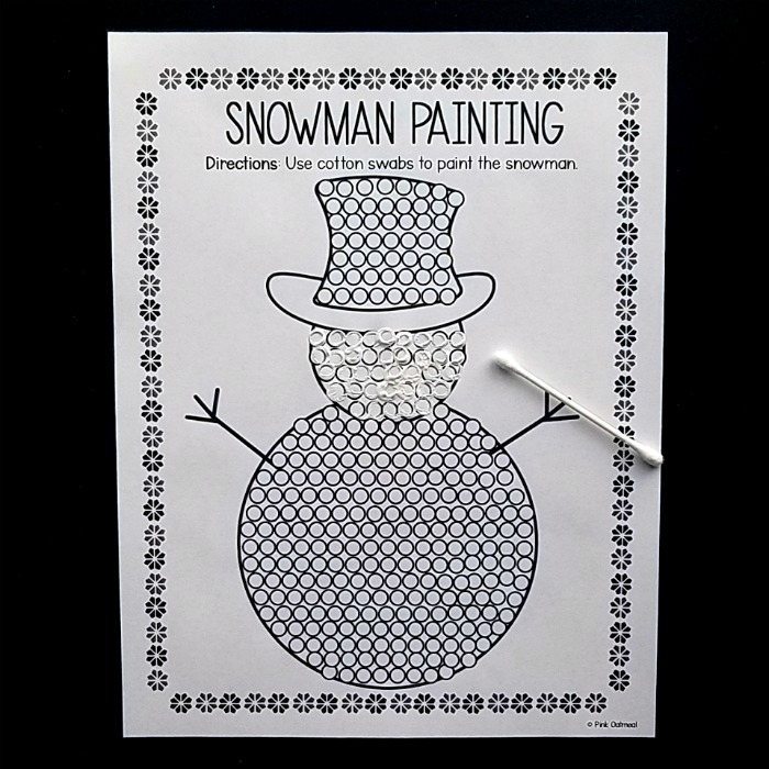 Winter Fine Motor - Snowman Dot Painting