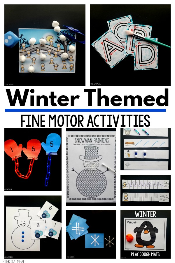 winter fine motor activities pink oatmeal shop
