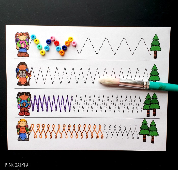 Camping Fine Motor Activities - Pencil Control or Tracing Paths