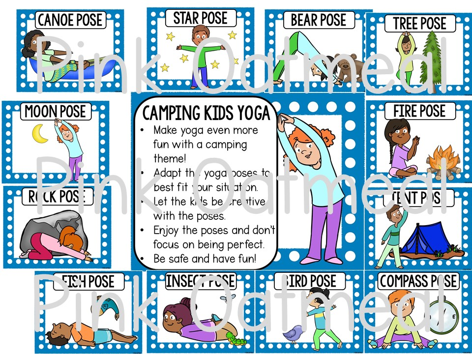 Camping Yoga Clip Art Kids Pink Oatmeal Shop
