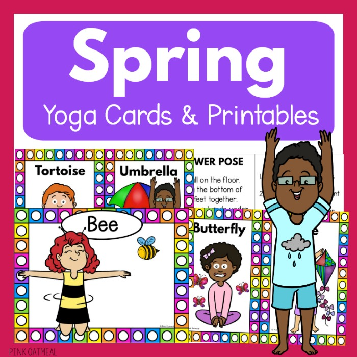 image relating to Yoga Cards Printable known as Spring Yoga Playing cards for Small children