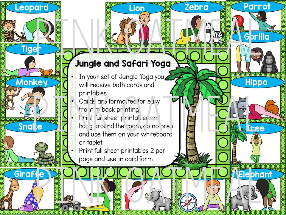 Jungle And Safari Yoga Clip Art Kids Pink Oatmeal Shop