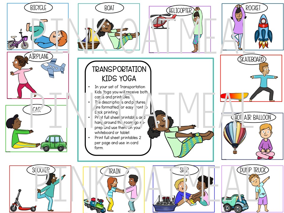 Transportation Yoga Clip Art Kids Pink Oatmeal Shop
