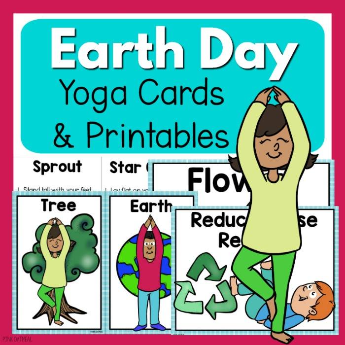 graphic relating to Yoga Cards Printable called Globe Working day Yoga Playing cards - Clip Artwork Young children
