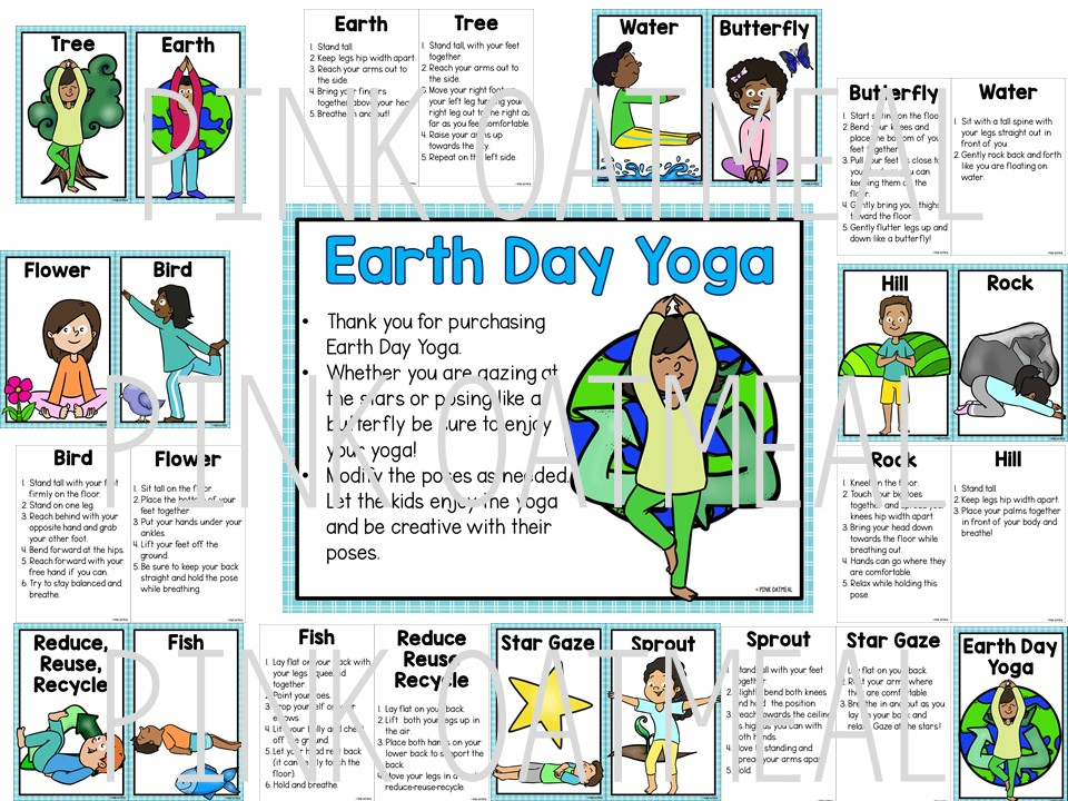 Earth Day Yoga Cards Clip Art Kids Pink Oatmeal Shop