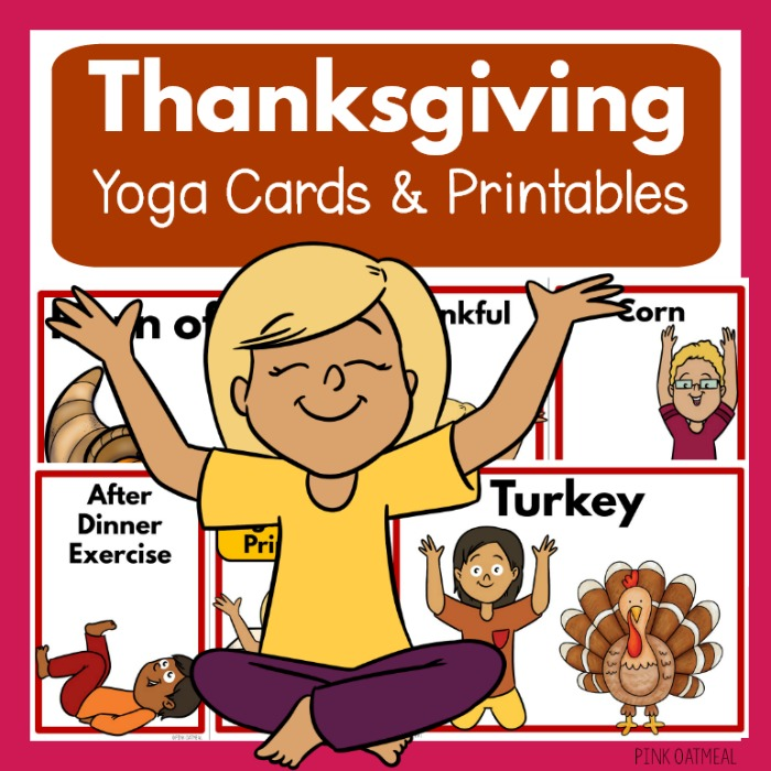 picture regarding Yoga Cards Printable named Thanksgiving Yoga and Printables - Clip Artwork Little ones